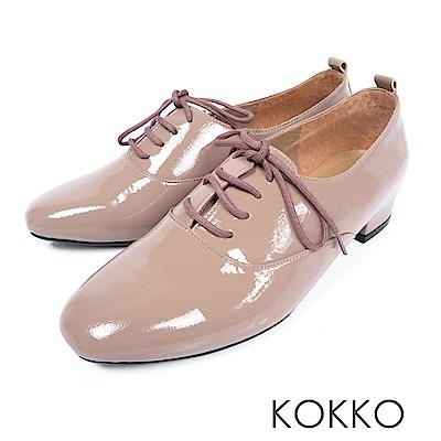 KOKKO -日不落思念方頭真皮綁帶牛津鞋-可可棕