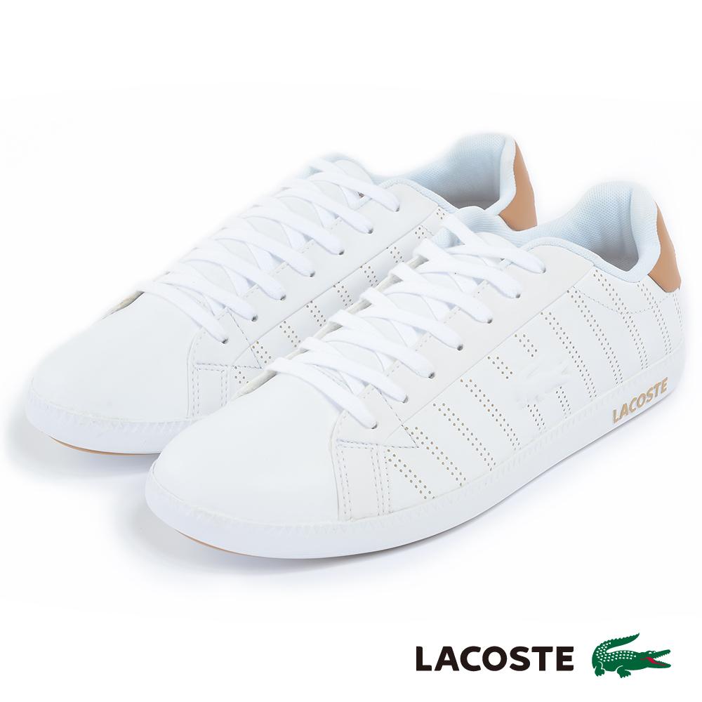 LACOSTE 男用休閒鞋-白/土黃