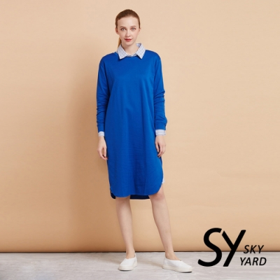 【SKY YARD 天空花園】舒適棉質長袖連身洋裝-藍色