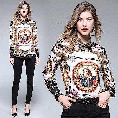 歐洲文藝印花長袖上衣襯衫S-XL-M2M