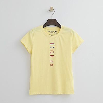Hang Ten - 女裝 - 有機棉 可愛比基尼插圖T恤-黃色