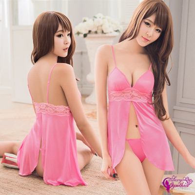 Sexy Cynthia情趣睡衣粉紅誘人柔緞二件式前後開襟睡衣-深粉紅F