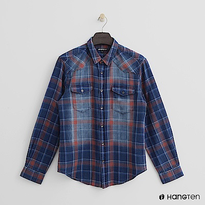 Hang Ten - 男裝 - 暈染感格紋襯衫 - 藍紅格