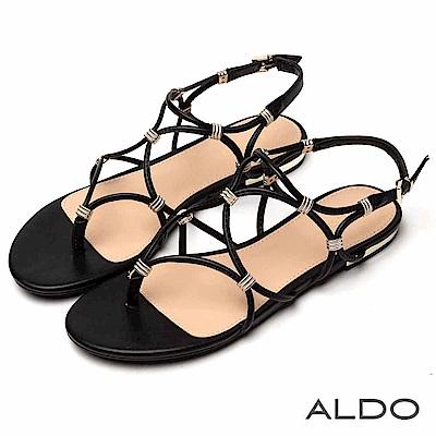 ALDO 原色幾何鏤空金屬夾心繫帶涼鞋~尊爵黑色
