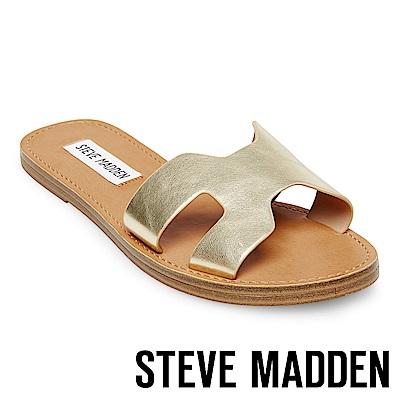 STEVE MADDEN-LISA 高質感皮革簍空涼鞋-金色
