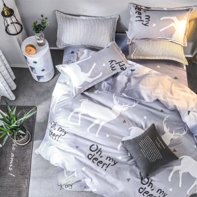 A-ONE 磨毛H系列-雪紡棉磨毛加工處理-加大床包兩用被組-秘密森林