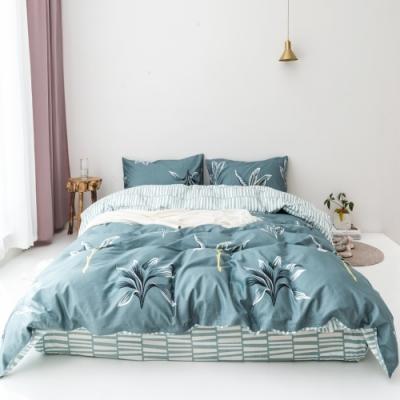 La Lune MIT精梳棉200織紗加大床包新式兩用被五件組 晨鐘妙蓮華