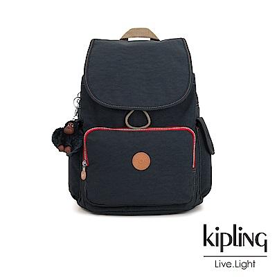 Kipling經典款深藍撞色拉鍊掀蓋後背包-CITY PACK-ESSENTIAL系列