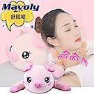 【Mavoly 美樂麗】第二代 耍萌可愛 小豬造型 正反捏 雙滾輪熱敷按摩枕 C-0052