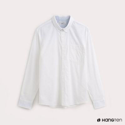 Hang Ten-男裝質感純色牛津襯衫-白