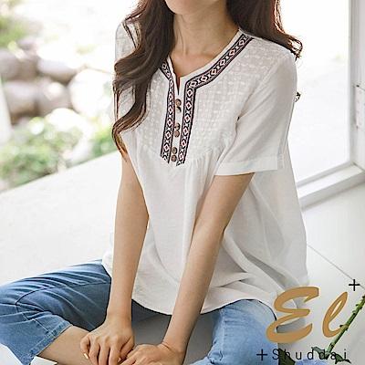 正韓 民風刺繡領邊木紋釦衫-(共二色)El Shuddai