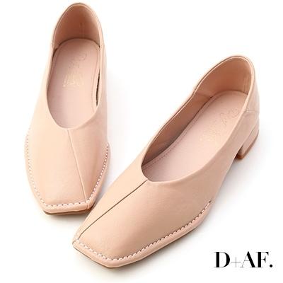 D+AF 甜甜淡淡.超軟V口素面包鞋*粉