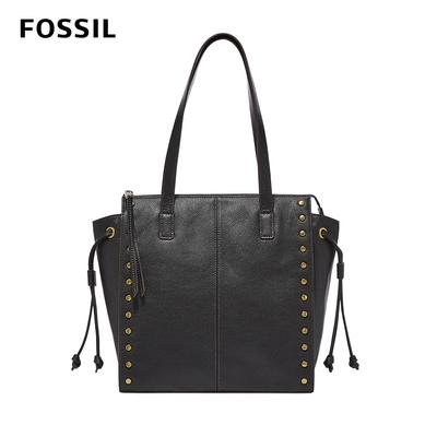 FOSSIL 母親節優惠 Brooklyn 真皮鉚釘手提包-黑色 SHB2671001