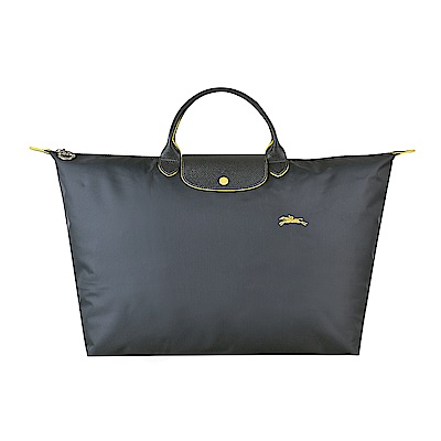 LONGCHAMP COLLECTION系列刺繡LOGO尼龍摺疊款短把手提包(大/槍銅x黃