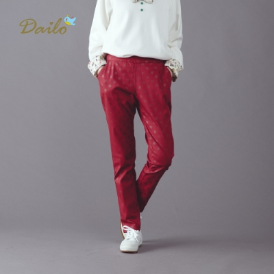 【Dailo】MIT 可愛點點休閒-長褲(紅色)