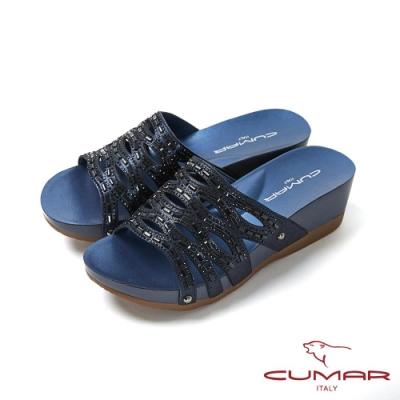 CUMAR情迷哈瓦那 -雷射沖孔鏤空厚底涼拖鞋-藍