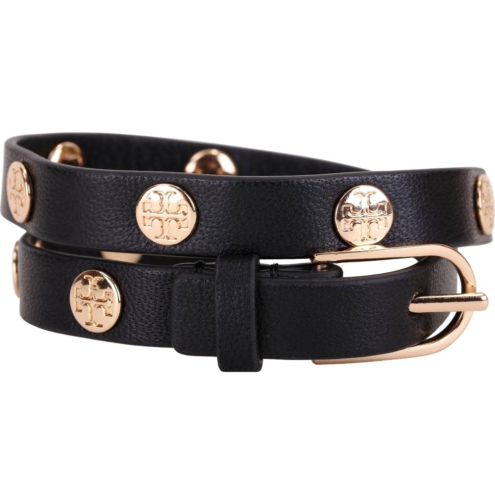 TORY BURCH Double-Wrap Logo 雙T盾牌雙繞皮革手環(黑色)