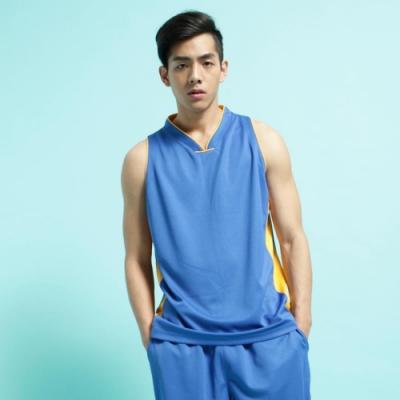 【FIVE UP】男款撞色剪接吸濕排汗籃球背心-中藍