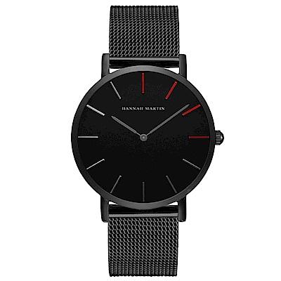 HANNAH MARTIN 極簡黑無秒針設計腕錶-黑錶盤x銀色刻度/36mm