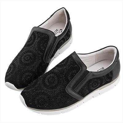 Robinlo 微奢華感金屬圓形鑲鑽休閒鞋 黑