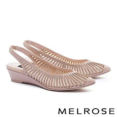 高跟鞋 MELROSE 優雅線條晶鑽鏤空羊麂皮繫帶尖頭高跟鞋-米