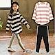 小衣衫童裝  中大童圓領條紋長袖T恤內搭九分褲套裝