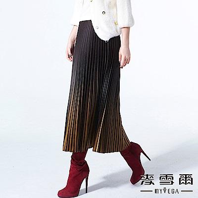 【麥雪爾】絨面立體漸層細百褶傘長裙-黃