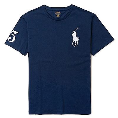 Polo Ralph Lauren 年度熱銷電繡大馬圓領素面短袖T恤-深藍色