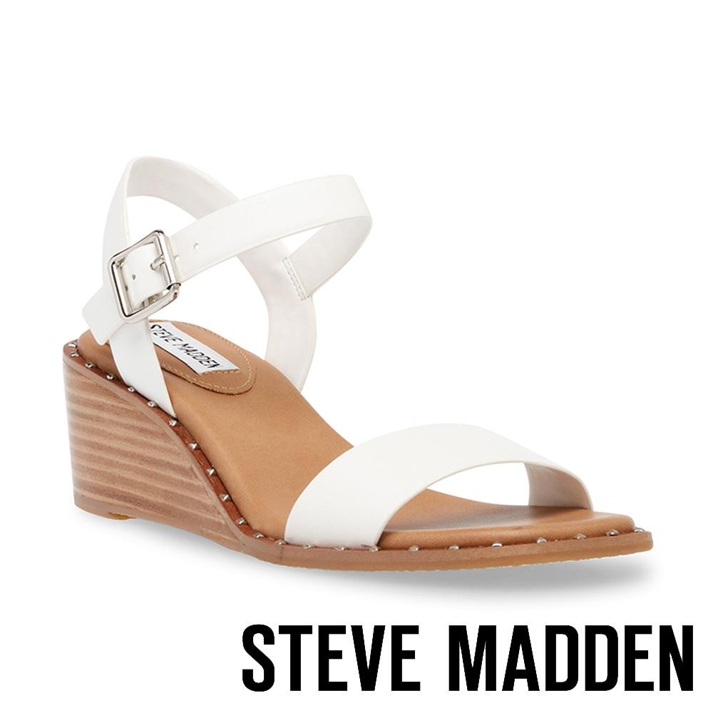 STEVE MADDEN-DAIRE 交叉楔型涼拖鞋-白色