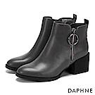 達芙妮DAPHNE 短靴-撞色線條圓扣拉鏈粗跟短靴-灰