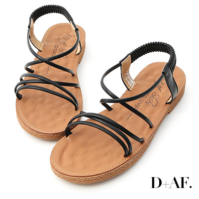 D+AF 仲夏氛圍.交叉細帶平底涼鞋*黑