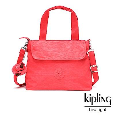 Kipling 亮橘色素面前翻蓋手提側背包-ENORA