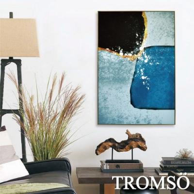 TROMSO北歐風尚板畫有框畫-藍黑沙金WA105