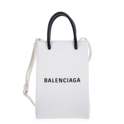 Balenciaga 新款Shopping Phone Holder 白底黑字Logo手提/肩背包