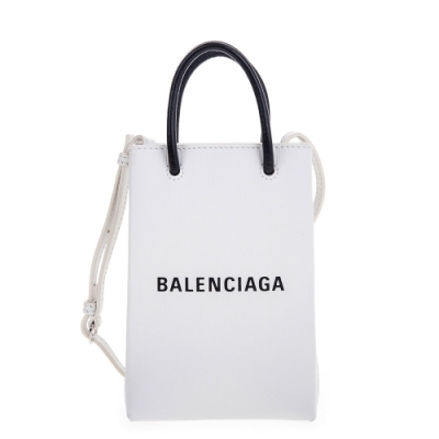【時時樂】Balenciaga 新款Shopping Phone Holder 白底黑字Logo手提/肩背包