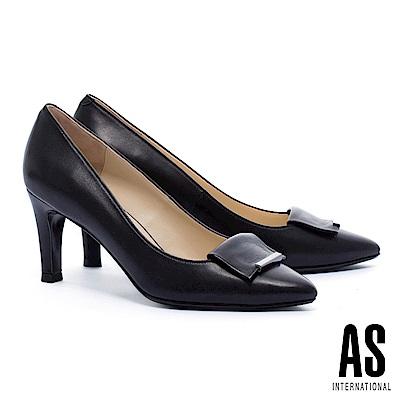 高跟鞋 AS 知性典雅金屬飾羊皮尖頭高跟鞋-黑
