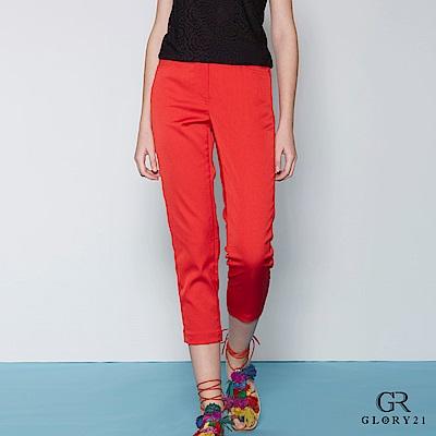 GLORY21 彈性直筒九分褲-紅 @ Y!購物