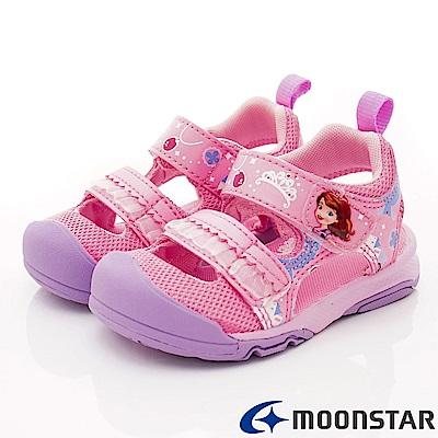 日本月星頂級童鞋 冰雪奇緣聯名護趾涼鞋 ON2334粉(中小童段)
