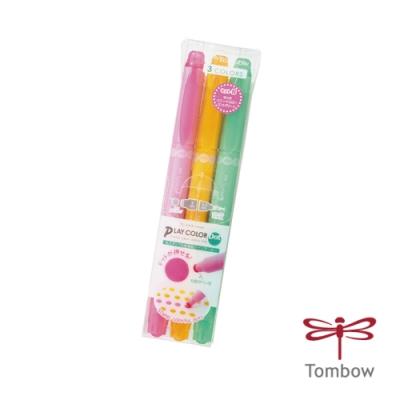 TOMBOW 蜻蜓 書寫系 PLAY color DOT 雙頭點點彩色筆3色 (馬卡龍)