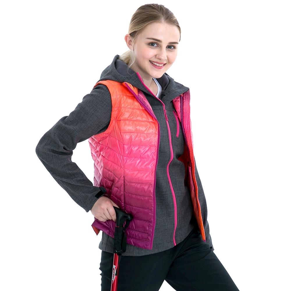 【St. Bonalt 聖伯納】女款立領羽絨背心 (7225-粉紫漸層) 輕量級 防風 透氣 保暖