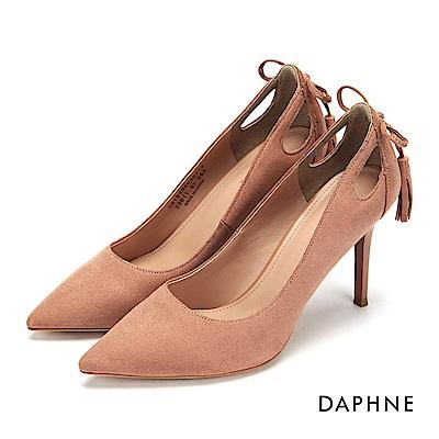 達芙妮DAPHNE 高跟鞋-蝴蝶結流蘇挖空細高跟鞋-粉紅
