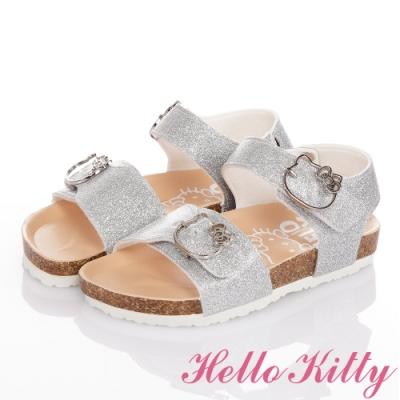 (雙11)Hello Kitty童鞋 金蔥輕量減壓腳床型涼鞋-銀