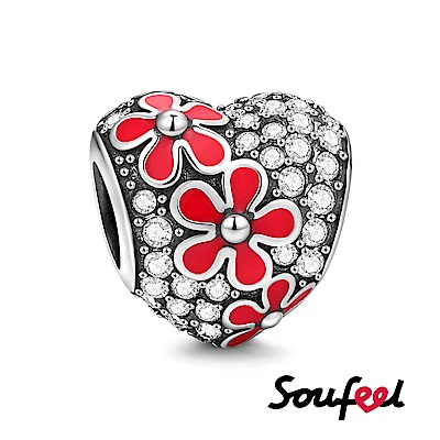 SOUFEEL索菲爾 925純銀珠飾 桃花心形 串珠