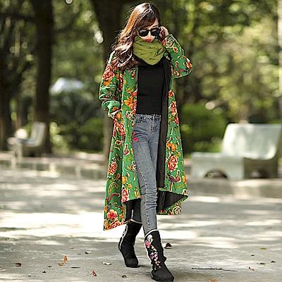 牡丹瓷綠棉絨風衣外套-M~2XL-維拉森林