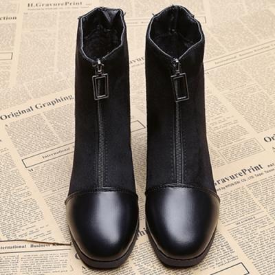 KEITH-WILL時尚鞋館-冬氛漾彩透氣金屬中筒襪靴-黑色
