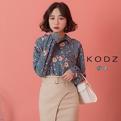 東京著衣-KODZ  復古浪漫滿版碎花公主袖襯衫-S.M.L(共兩色)