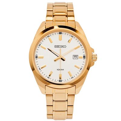 SEIKO 簡約時尚風格不鏽鋼錶帶手錶(SUR280P1)-銀面x金色/42mm