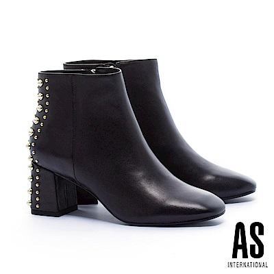 短靴 AS 華麗優美珍珠鉚釘設計羊皮高跟短靴-黑