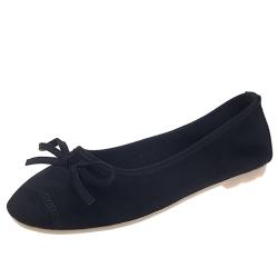 KEITH-WILL時尚鞋館 甜美玩色彈力豆豆鞋-黑色