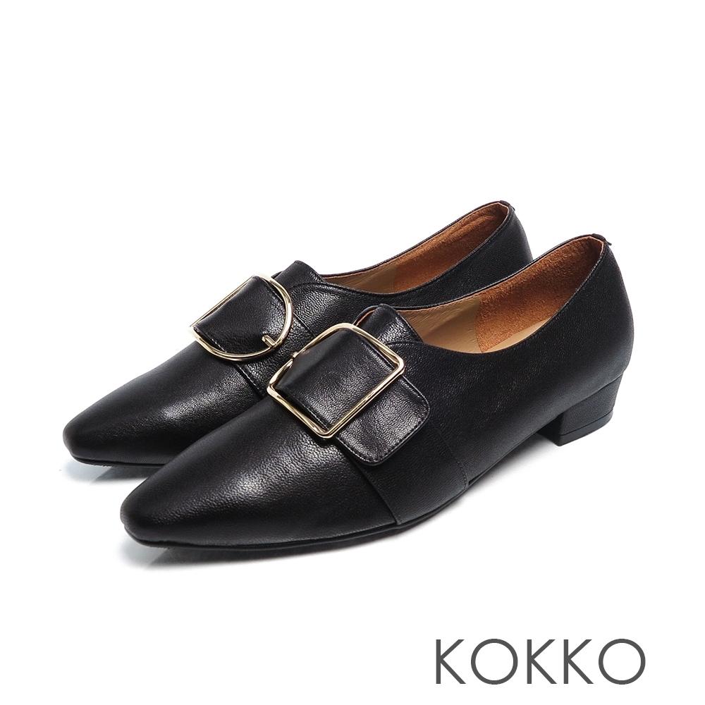 KOKKO - 柔軟羊皮方頭大D扣粗跟鞋 - 黑色